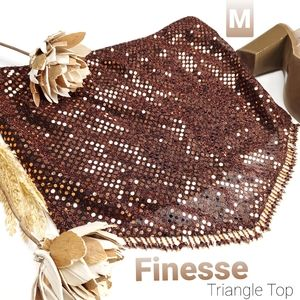 Finesse Brown Metallic Sequined Triangle Top M